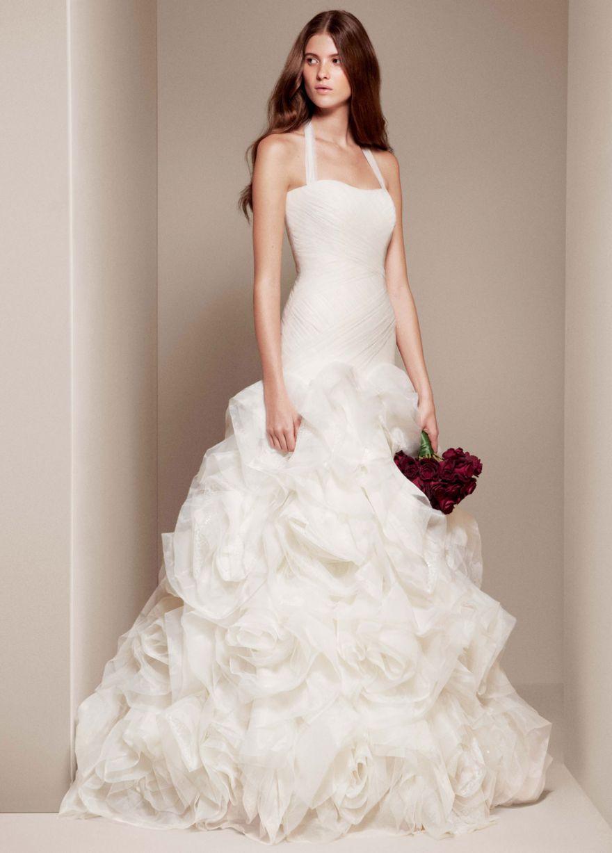 Свадебное платье Vera Wang White новая коллекция заниженный корсет, розы на юбке